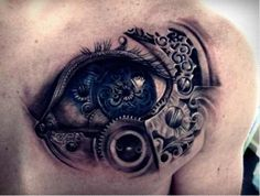 A tattoo with a very innovative concept. With touches of steampunk this tattoo resembles a mechanical eye.