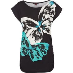 Mandi Black Butterfly Print Top ($18) ❤ liked on Polyvore featuring tops, butterfly top, cocktail tops, black evening tops, beach tops and special occasion tops