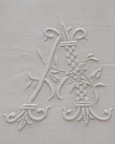 Antique Linens by Em's Heart- Antique French Linen Monogrammed Sheet Set Wedding Embroidery, Embroidery Monogram, Embroidery Fonts, Hand Embroidery Designs, Monogram Jewelry, Monogram Letters, Artwork Images, Vintage Monogram, Linens And Lace