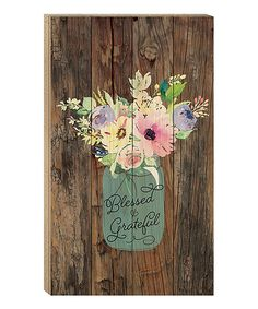 Take a look at this 'Blessed' Floral Wood Wall Sign today!