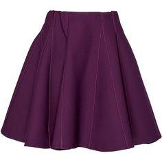 Elie Saab High Waisted Mini Skirt ($1,100) ❤ liked on Polyvore featuring skirts, mini skirts, purple, flared mini skirt, high rise skirts, flare skirt, short flared skirt and high-waisted skirts
