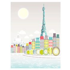 Paris Print, Seine Bridges, Eiffel Tower, Wall Art Paper Print, Skyline, Poster illustration, Art For Home, Nursery, Christmas Gift SPPPS1