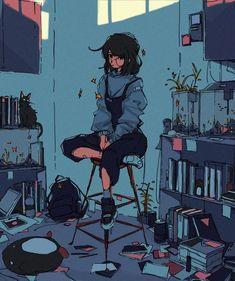 Pretty Art, Cute Art, Aesthetic Art, Aesthetic Anime, Anime Kunst, Anime Scenery Wallpaper, Wallpaper Art, Cartoon Art Styles, Art Reference Poses