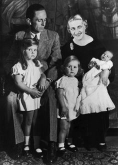 And then there were three. Joseph and Magda Goebbels in a family portrait with their 3 eldest children, L-R: Helga, Hilde, and only son, Helmut. As usual, Daddy's girl Helga poses with her father.