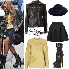 Wear a yellow graphic sweatshirt with a leather jacket and your black skater skirt for this cold-weather look. Pair it with a navy blue fedora for contrast and black combat boots.