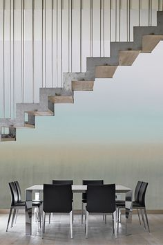 #horizont #blurred #PastelColor #OfficeDesign Pastel Colors, Conference Room, Stairs, Table, Furniture, Collection, Design, Home Decor, Pastel Colours
