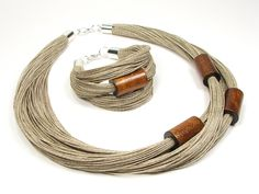 Brown linen jewelry set for women, wooden beaded simple necklace, wooden tubes, wooden linen rustic bracelet, birthday gift for mother Linen set with wooden beads and stainless steel caps from JagnaStudio - My Accessories World Wooden Necklace, Wooden Jewelry, Wooden Beads, Leather Jewelry, Fabric Jewelry, Beaded Jewelry, Handmade Jewelry, Jewellery, Bridal Jewelry