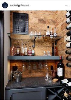Iron Wine Rack, Wine Glass Holder, Wine Racks, Basement Bar Designs, Home Bar Designs, Bar Sala, Bar Shelves, Liquor Shelves, Built In Bar