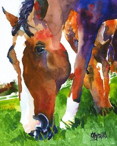 Grazing Horse Original Watercolor Painting by dogartstudio on Etsy