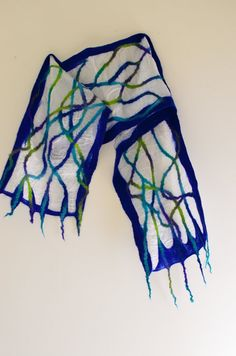 Nuno Felted Scarf Blue and Green Squiggle