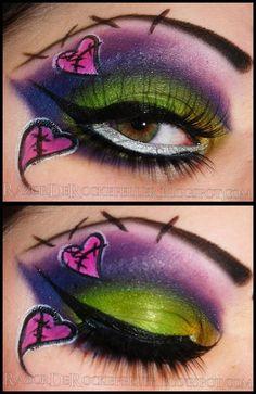 Goth eyes. Frankenstein makeup. Stitches. Hearts. Gothic doll ...