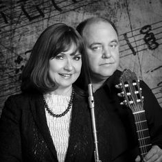 Duo Sequenza, Debra Silvert, Paul Bowman, Flute, Guitar, Classical Music, Chamber Music, Black and White