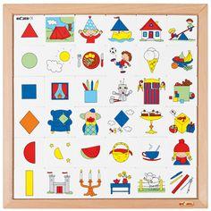 --- vormenrij --- Vind de 6 verschillende geometrische vormen terug in de afbeeldingen op de beeldkaartjes. Leg 6 rijen met vooraan de vorm en erachter de bijpassende beeldkaartjes. Formaat : 40 x 40 cm (l x b). 522 908 Former, Sorting, Puzzles, Bb, Playing Cards, Construction, Kids Rugs, Education, Math