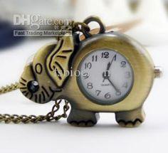 elefanten taschenuhr mit metall-Kette33x43MM,Bronze vernickelt farbe taschenuhr
