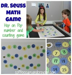 Dr. Seuss Math Game: Hop on Pop Counting Board Game from Coffee Cups and Crayons