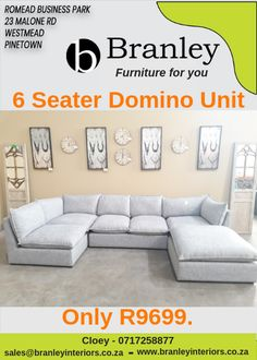 6 Pce Domino Suite Grey textured fabric * Can be used as individual units Only Contact the warehouse on 0717258877 or email us at sales for any further information. Furniture For You, Quality Furniture, Lounge Suites, Wholesale Furniture, Warehouse, Ottoman, The Unit, Couch, Interiors