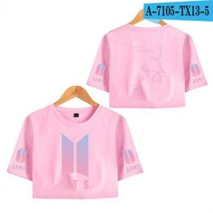 FridayLead BTS T-Shirt Short Sleeve Bangtan Boys Love Yourself Tee Pink Printing Girls Kpop Exposed Belly Button T-Shirt, Hip Hop Outfits, Hipster Outfits, Bts Shirt, Bts Love Yourself, Hip Hop Fashion, Ladies Dress Design, Patterned Shorts, Crop Tops, Sleeves