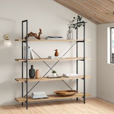 Looking for an industrial bookshelf? Check out the best industrial bookcases and shelves and get the look for every budget and style. Contemporary Bookcase, Modern Bookcase, Modern Contemporary, Wood Bookshelves, Bookshelf Design, Bookshelf Ideas, Diy Wood Shelves, Ladder Bookcase, Office Furniture