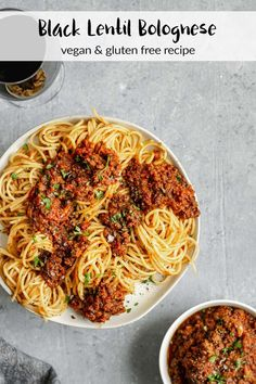 This vegan bolognese uses black lentils for a meaty texture, and is slowly simmered to bring out the deepest and richest flavors from the sauce. It's even better on the second day! Vegan Lentil Recipes, Healthy Soup Recipes, Pasta Recipes, Whole Food Recipes, Vegetarian Recipes, Lentil Meals, Lentil Dishes, Delicious Recipes, Salad Recipes