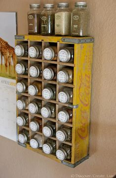 If you love a retro, shabby chic vibe, it's super easy to incorporate it into a handy spice rack.
