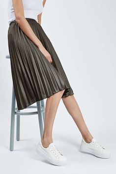 Metallic Pleat Midi Skirt