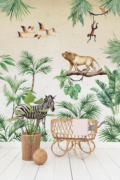 King of the jungle. One of our all time favourites. Kids love to give the animals names. Are your kids back to school already? Enjoy your evening! Ps curious about our new collection? Come by and visit us or Jungle Book Nursery, Safari Theme Nursery, Nursery Themes, Boys Jungle Bedroom, Baby Boy Room Decor, Baby Boy Rooms, Murals For Kids, Creative Labs, Kids Wallpaper