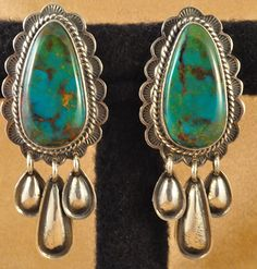 Turquoise and silver earrings, Navajo style, Unknown maker