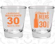30th Birthday Shot Glass, Cheers and Beers, Cheers to 30 Years, Dirty 30, Dirty Thirty, Birthday Shot Glass, Birthday Glass (20214)