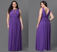 New Purple V Back Cheap Bridesmaid Dresses 2017 Plus Size Beaded Chiffon Pleated Backless Long Prom…