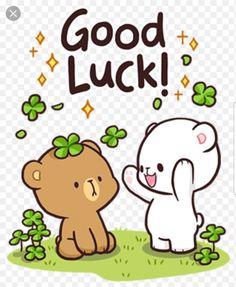 Good Luck - milk and Mocha Cute Bear Drawings, Cute Couple Drawings, Cute Couple Cartoon, Cute Cartoon Images, Kawaii Drawings, Cute Cartoon Wallpapers, Cute Kawaii Animals, Kawaii Cute, Good Luck Gif