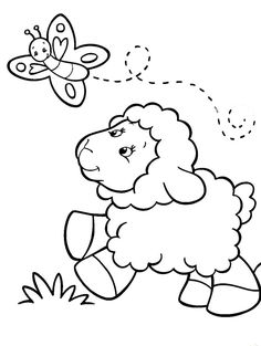 (^_^) Baby Sheep Chasing Butterfly Coloring Pages - Sheep Coloring Pages