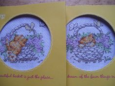 Hand stitched cross stitch greetings card by CrowCottageCrafts, $5.00