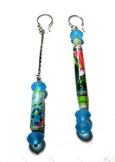 Unique Earrings Recycled Paper Bead Quilled Handcrafted Dangle