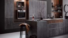 As every autumn, the major kitchen furniture and appliance manufacturers presented their new products this year. We would like to introduce you to the kitchen trends 2019 in more detail. Beton Design, Küchen Design, Modern Kitchen Design, Interior Design Kitchen, Modern Kitchens, Glossy Kitchen, Cocinas Kitchen, Concrete Kitchen, Kitchen Gallery