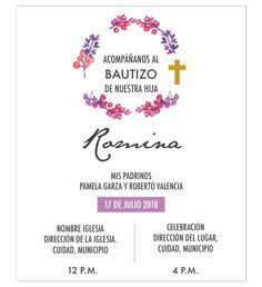 Invitación Bautizo Flores, diseño digital, personalizable