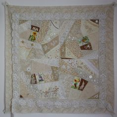 I love crazy quilts. It's the only sort of quilting I'm really interested in. Wedding Dress Quilt, Wedding Quilts, Wedding Dresses, Project Ideas, Diy Projects, Double Wedding Rings, Crazy Quilting, Blush Roses, Vintage Quilts