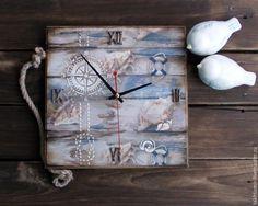 """Купить Часы """"...и моря шум"""" - комбинированный, часы, часы настенные, часы декупаж"""