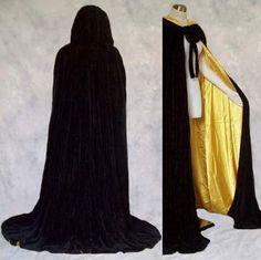 Lined Black Yellow Velvet Cloak Cape Wedding Wicca SCA | eBay