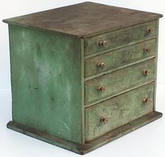 OLD New England Wooden 4-Dwr Utilitarian MAKE-DO Spice Chest in Green Paint.    Sold  Ebay   354.00