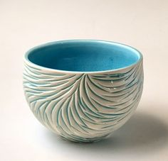 Blue Rain Feather Small Serving Bowl #PotteryClasses