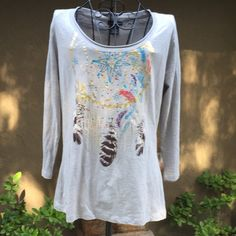 NWT Dream Catcher Bling Top NWT 100% Cotton, 3/4 length sleeve, grey top with a gold & bling dream catcher design. Bay Studio Tops