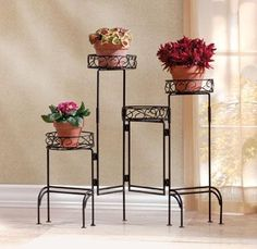 NEW Metal 4 tier foldable Plant Stand Black Finish - Home decor on Ebay today for 22.99
