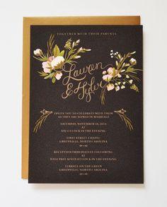 Custom Hand Painted Wedding Invitation Suite/ Set of 25-Big Blossoms