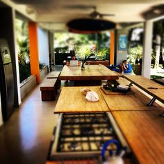 Surf camp open plan kitchen and mess hall