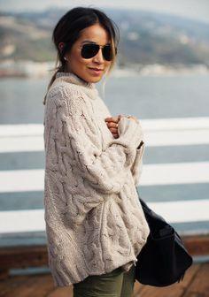 LOVE STITCH Chunky Oversized Cable Knit Turtleneck Sweater Cozy Tan Zipper M/L #lovestitch #TurtleneckMock