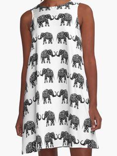 'Indian elephants ' A-Line Dress by ValentinaHramov Elephant Dress, Elephant Print, Elephant Clothing, Elephant Jewelry, Elephant Gifts, Summer Dresses 2017, Summer Outfits, Cute Outfits, Vegan Fashion