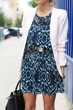 Waayyyy too short for me, but I love the colors/print of dress. Dress with belt, blazer is an allover look I like.