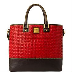 "Dooney & Bourke: Tessuta Woven Shopper; Red - BW958; $498.00 + Free Shipping: L 12.75"", W 6.25"", H 11.25"", One inside zip pocket, two inside pockets, cell phone pocket, inside key hook, adjustable strap, handle drop length 5.75"", strap drop length 9:, lined, feet, magnetic snap closure  -  www.Dooney.com   (08.07.14)"