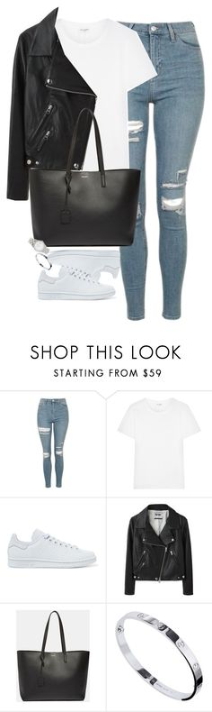 """Untitled #1229"" by lovetaytay ❤ liked on Polyvore featuring Topshop, Yves Saint Laurent, adidas Originals, Acne Studios, Cartier and Marc Jacobs"