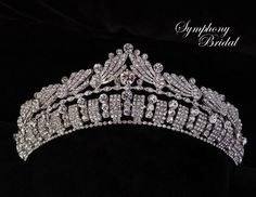 Stunning! Intricate Silver Plated Wedding Tiara Symphony Bridal 7720CR - Affordable Elegance Bridal - Gold Pearl Ring, White Gold Rings, Modern Vintage Weddings, Vintage Glam, Wedding Tiaras, Tiara Hairstyles, Gold Engagement Rings, Bridal Accessories, Fine Jewelry